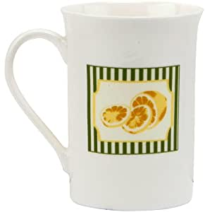 C.R. Gibson Jessie Steele Gift Set with 2 Mugs in Decorative Tin, Summer Lemons