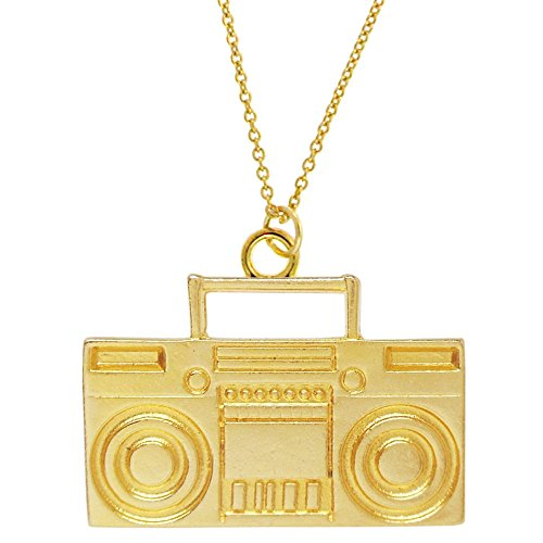 GIRLPROPS 100% Nickel Free 1980'S Style Boombox Necklace, 100% Made in USA!, Gold Tone in Gold Tone