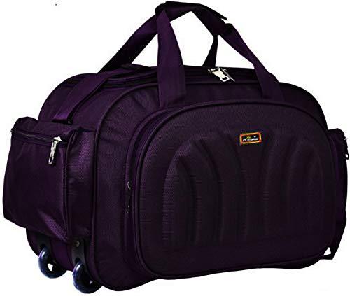 Inte Enterprises Waterproof Polyester Lightweight 55 L Luggage Travel Duffel Bag with 2 Wheels  Purple