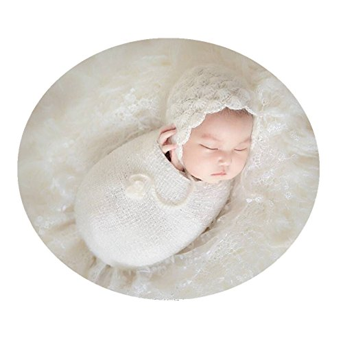 aphy Props Outfits Hat Long Ripple Wrap Set for Boys Girls Photography (White) ()