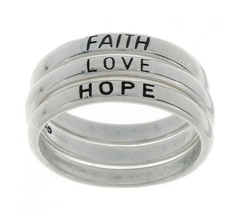 Hope Stackable Ring - Jewelry Trends Sterling Silver Faith Love Hope Stackable Band Ring Set Size 8 Religious Jewelry