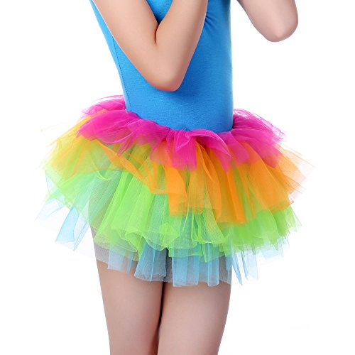 Anleolife Girl Baby Rainbow Tutu Skirts Dance Dress Tutus(8.5''/20cm -