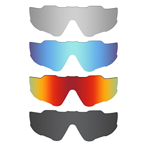 Mryok 4 Pair Polarized Replacement Lenses for Oakley Jawbreaker Sunglass - Stealth Black/Fire Red/Ice Blue/Silver - Blue Sunglasses Lenses Oakley