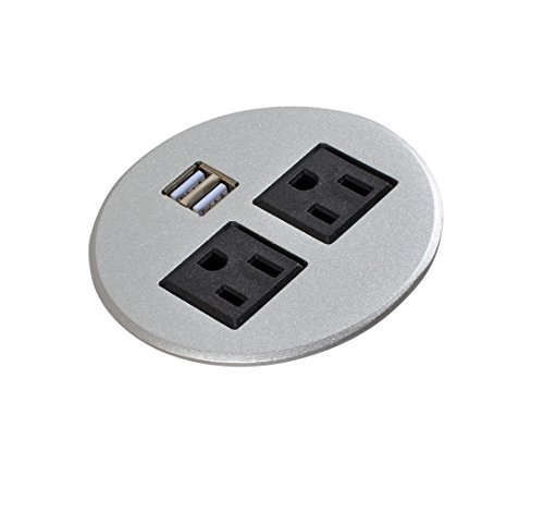 Aluminum Alloy Surface Power Data Hub Tap Grommet With 2 X AC Outlet and 2 X USB Ports With 6 ft Heavy Duty Power Cord (Silver) (Port Grommet)