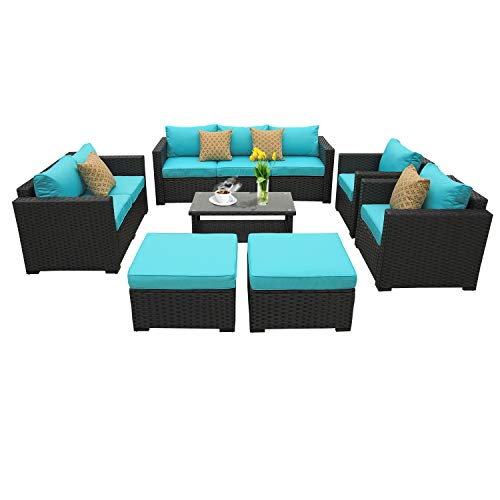 Seat Conversation Set - Rattaner Outdoor PE Wicker Furniture Set -7 Pcs Patio Garden Conversation Cushioned Seat Couch Sofa Chair Set-Turquoise Cushion