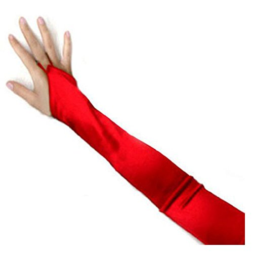 SACAS Long Fingerless Satin Gloves in Red One Size