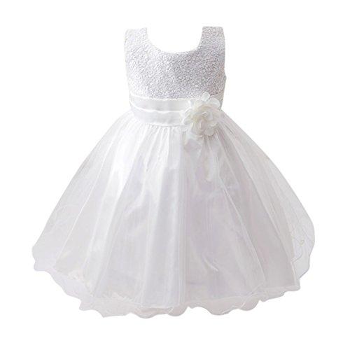 120 Matrimonio Weixinbuy Bowknot Festa Senza Ragazze 5 Estivo Bianco Di Vestito Maniche 6year Di Paillette 1RcTTB