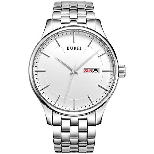 (BUREI Men Simple Quartz Watch Silver Analog with Day Date Window Stainless Steel Case and Band Mineral Lens)