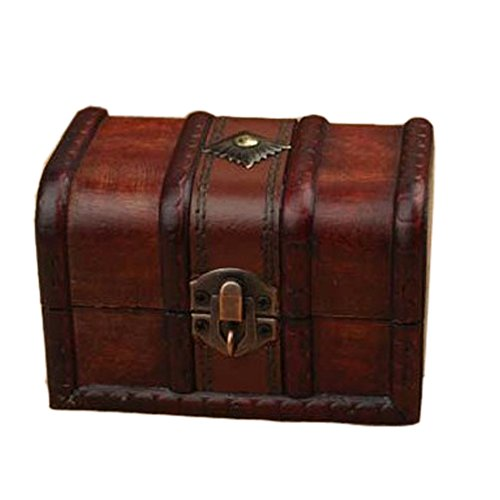 Ieasycan 1set of Retro Stamps Small Trunk Box Vintage Jewelry Storage Treasure Cards Collection Wooden Gift Box Decorative Box,for Gifts And House Decoration (Small Mahogany Jewelry Armoire)