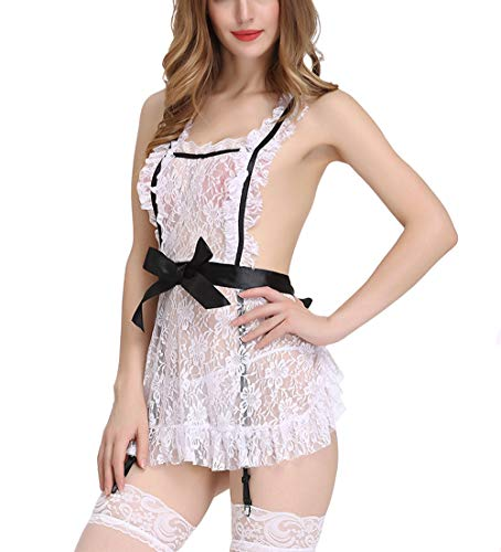 Women Sexy Costumes for Sex - Sexy Lingerie Maid Outfit Cosplay Costume Lace Panties Blue (Medium-White)