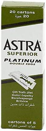 Astra Superior Premium Platinum Double Edge Safety Razor Blades, 100 count