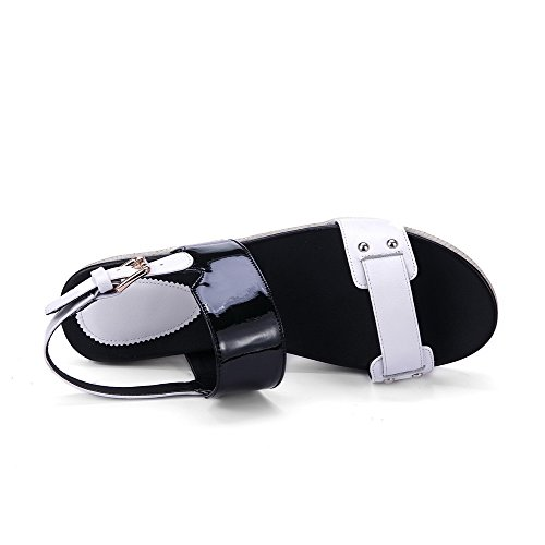 Aalardom Mujer's Pull On Kitten Heels Sandalias De Cuero Con Punta Abierta De Vaca Color Blanco