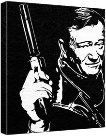 John Wayne - Pop Art Print (Black Background) 60 x 50 x 1
