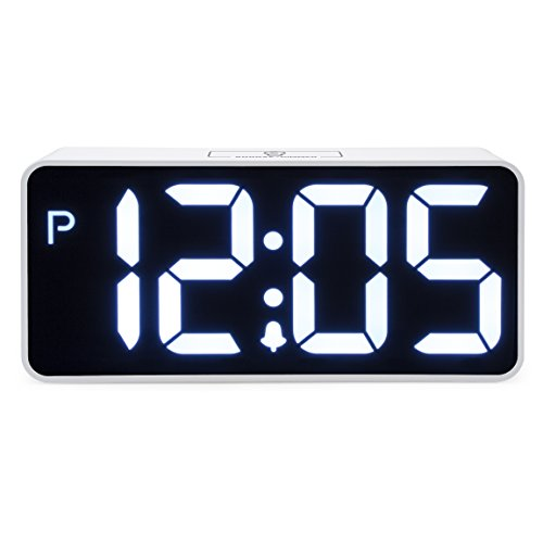 Jumbo LED Digital Alarm Clock for Heavy Sleepers - Desk, Office, and Bedroom Alarm Clocks with Extra USB Port - Comes with Adjustable Volume and Dimmable Light by JCC- Great For Seniors, Kids - White