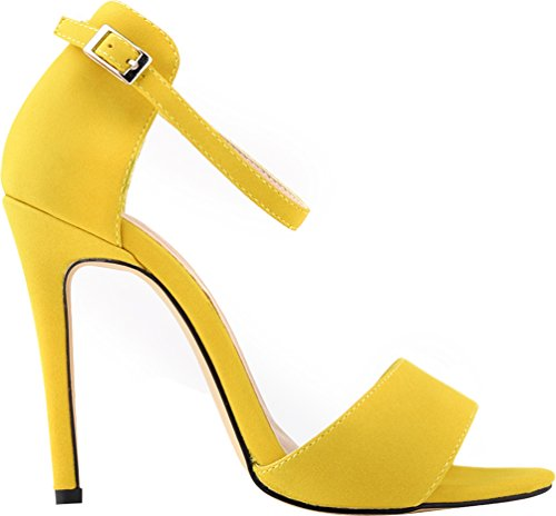 CFP YSE-102-2MS Womens Office Charm Pump Elegant Wedding Party Ankle Wrap Buckle Open Toe Spike High Heel Anti-Friction Sandals Stylish Slip On Stilettos Breathable Yellow
