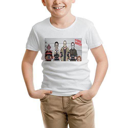 DJSIFHBBW The Usual Horror Suspects Halloween Kids Boys Short Sleeve T-Shirts Crazy Designer Customized T-Shirt. -