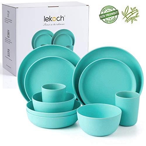 Lekoch Bamboo Dinnerware Set,Eco-friendly Bamboo Fiber Dinnerware 10-Piece (Dinner & Salad Plate Cup Large & Small Bowl) (2 Guest (Navy)) (Bamboo Dish Set)