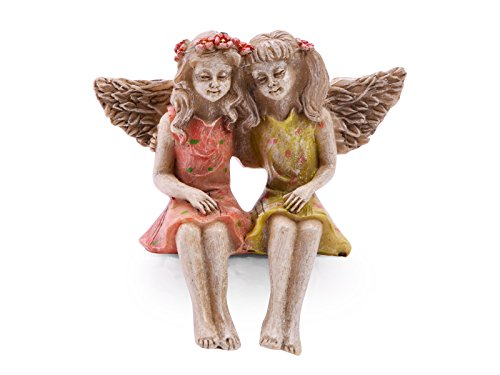Sugar House Miniature Fairy Figurine Statue - Garden Décor Accessories Fairies (Best Friends)