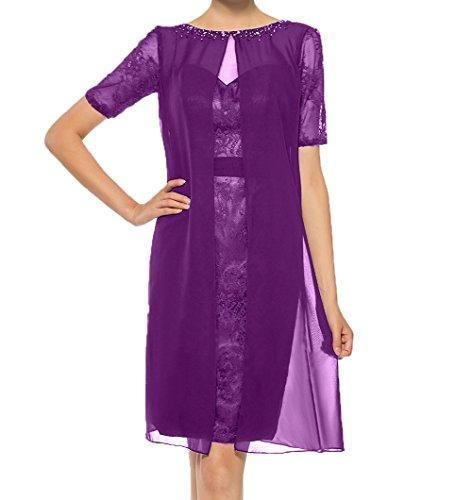 Partykleider Herzausschnitt Charmant Chiffon Brautmutterkleider Etuikleider mit Abendkleider Damen Violett Jaket Kurzarm TwXqPw7