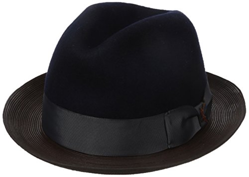 Carlos Santana Men's Wool Pinch Hat With Leather, Navy, Medium by Carlos by Carlos Santana