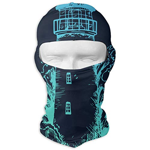 Leopoldson Lighthouse in The Storm Ink Engraving Nautical Theme Balaclava UV Protection Windproof Ski Face Masks for Cycling Outdoor Sports Full Face Mask Breathable