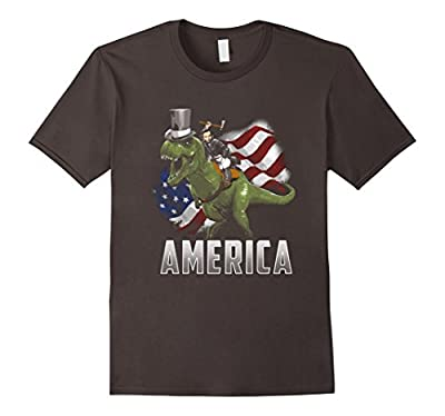 Abe Riding a T-Rex Dino in a Top Hat! Funny July 4th T-Shirt