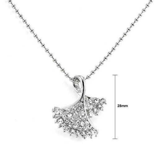 2938 Glamorousky Glistering Silvery Leaves Pendant with Silver Austrian Element Crystals and Necklace