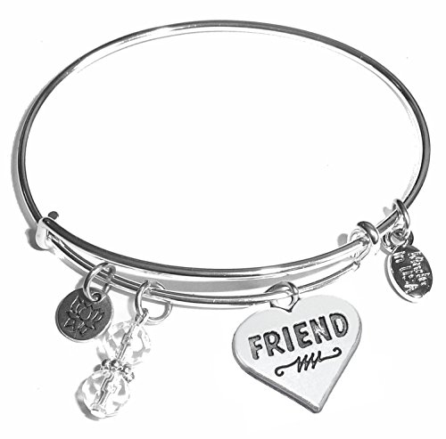 Hidden Hollow Beads Message Charm (Choose Message) Expandable Wire Bangle Bracelet, in the Popular Style (Friends)