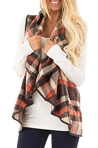 Womens Sleeveless Vest Plaid Hem Drape Open Front Cardigan (Orange, Small) ()