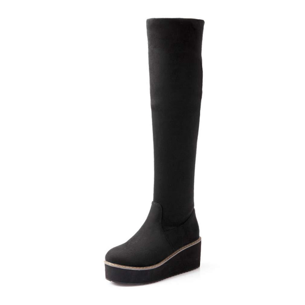 Hy Chaussures pour Femmes, Bottes à Talons épais en Daim, Confort Automne/Hiver, Bottes Plates pour Dames à Enfiler Plates Bottes à la Mode , Bottes Longues, Bureau et soirée carrière