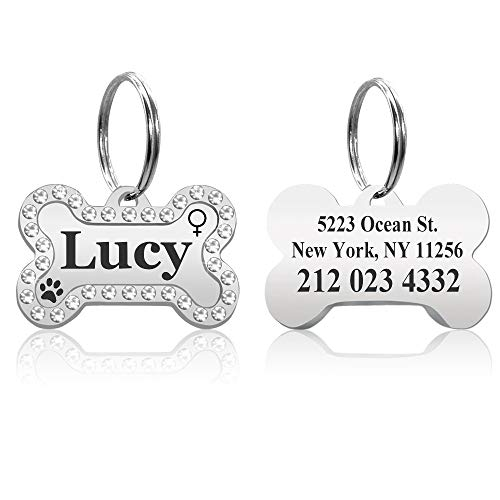 CEZB Personalized High Polished Rhinestone Style Bone Shape Stainless Steel Pet ID Tags Dog Tags and Cat Tags.Customized Text Engraved