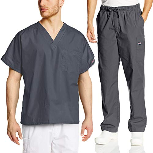 Solid Pewter Button - Cherokee Mens Workwear Scrub Set Medical/Dentist Uniform V-Neck Top & Cargo Pant (Pewter, Medium)