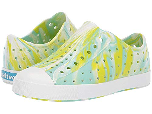 Native Kids Shoes Unisex Jefferson Marbled (Little Kid/Big Kid) Glo Green/Shell White/Marbled 1 M US Little Kid