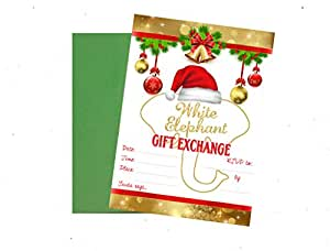 Holiday White Elephant Gift Exchange Christmas Party Invitation (Pack of 12) with Envelopes
