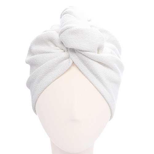 Microfiber Hair Turban (Aquis - Original Hair Turban, Patented Perfect Hands-Free Microfiber Hair Drying, White (10 x 26 Inches))