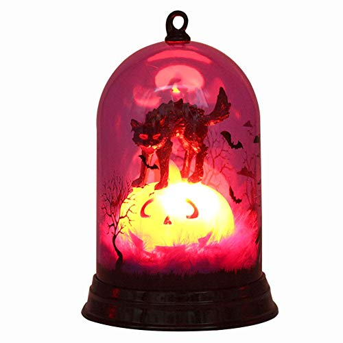 elec tech Halloween Backdrop Pumpkin Lamps Witch Lamp Jungle Forest Scary Castle Multicolored Light Scene Layout Decoration Decorative Night Light (Battery -