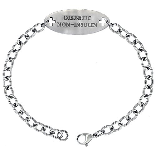 Surgical Stainless Steel Medical Alert Diabetic Non-Insulin Bracelet 9/16 inch wide, up to 9 inch ()