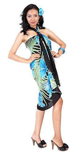 1 Floral Bain Femmes Sarong maillot Motif De Avec Couvre noir Hawaïen World Turquoise Sarongs Pour YPrY7