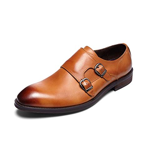 Zhrui Cuero Patente Tamaño Hebilla 42 Zapatos Resbalón La Hombre Rojo Genuino En De Marrón Del Monje Pulidos Eu Para Ocasionales color rr7TwO