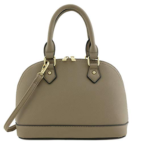 Taupe Womens Handbag - Zip-Around Saffiano Classic Dome Satchel Taupe