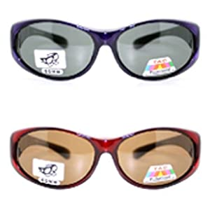 2 Pair of Women's Polarized Fit Over Oval Sunglasses - Wear Over Prescription Glasses (Red and Purple) 2 Carrying Cases Included