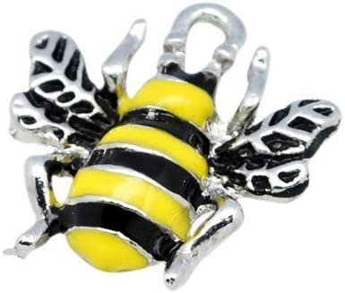 Pack of 10 x Yellow//Black Enamel /& Alloy 18mm Charms - Bee HA08210 - Charming Beads