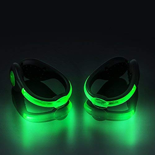 SLDHR LED Shoes Clip Lights USB charging for Night Running Gear, Color Changing RGB Strobe and Steady Color Flash Mode, Safety Clip Lights for Running, Jogging, Walking, Biking(One Pair)]()
