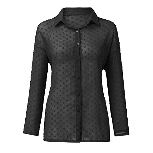 (TIFENNY Lace Thin Shirts for Women Turn-Down Collar V-Neck Long Sleeve Dot Print Perspective Sexy T-Shirt Blouse Tops Black)