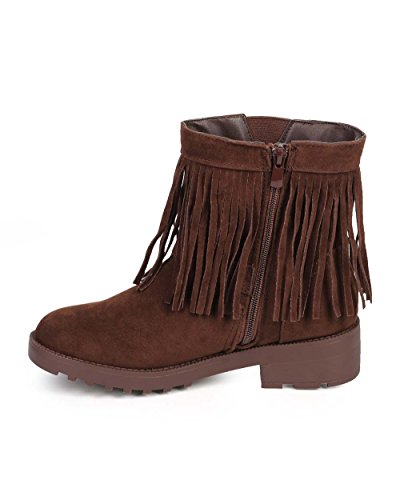 Forever DF17 Women Suede Fringe Collar Round Toe Bootie - Brown 6ermA9HIhD