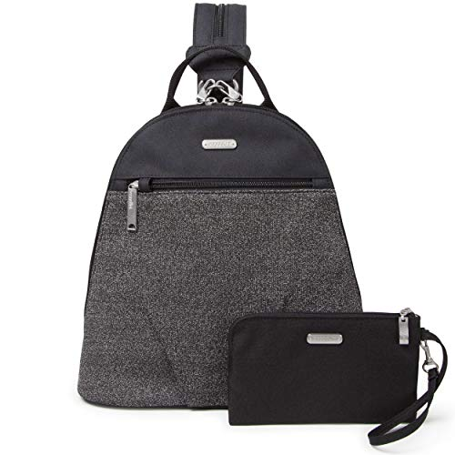 - Baggallini Anti-Theft Backpack - Stylish Carry-on Travel Bag With Locking Zippers and RFID-Protected Wristlet, Black and Gray Design