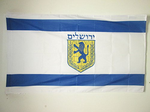 Jerusalem Flag - JERUSALEM FLAG 3' x 5' for a pole - JERUSALEM IN ISRAEL FLAGS 90 x 150 cm - BANNER 3x5 ft with hole - AZ FLAG