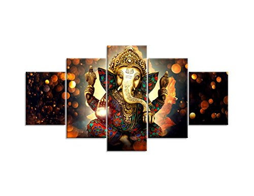 Artistic Elephant Wooden (Canvas Painting Wall Art Home Decor For Living Room HD Prints 5 Pieces Elephant Trunk God Modular Poster Ganesha Pictures Wooden Bar Frame Ready to Hang)
