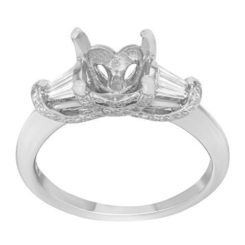 14K Or blanc et 0.09carat avec accents de diamant pierres Bague de fiançailles Jetant