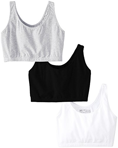 Fruit of the Loom Women's 3 PR Built-Up Sportsbra, Black/White/Heather Grey, Size 38
